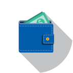 Money in wallet icon